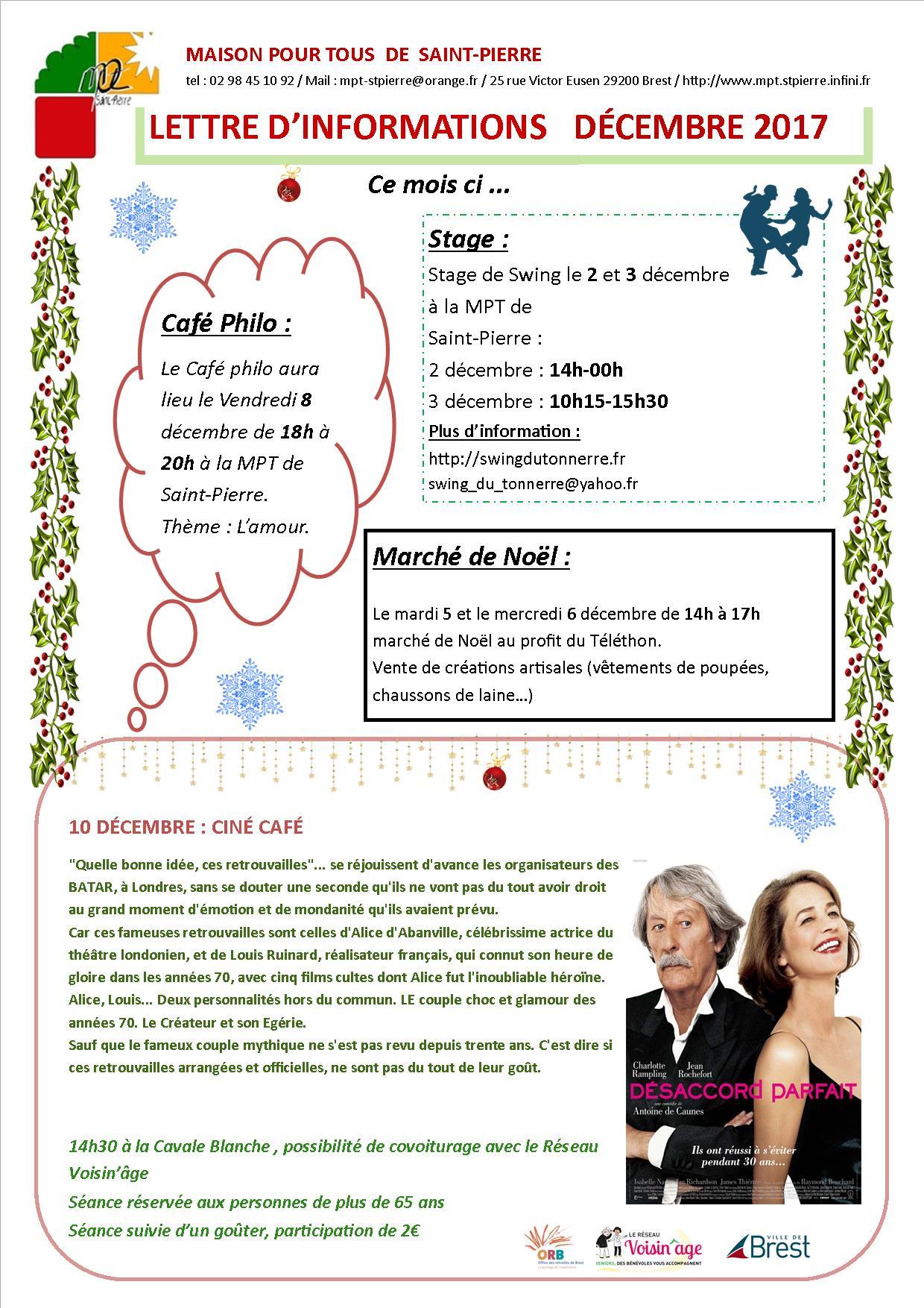 Lettre d'information du mois de Décembre
