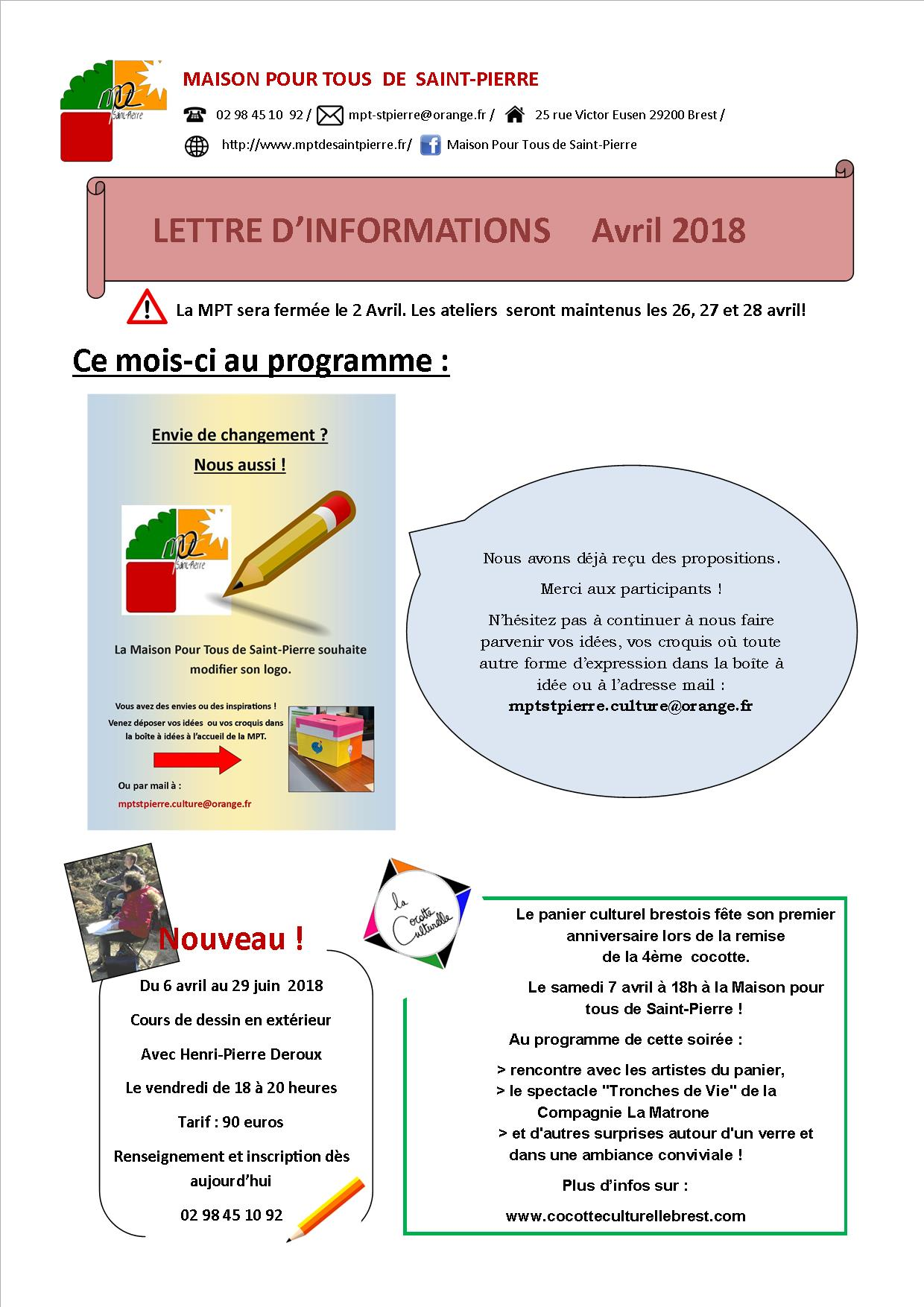 Lettre d'information du mois d'Avril