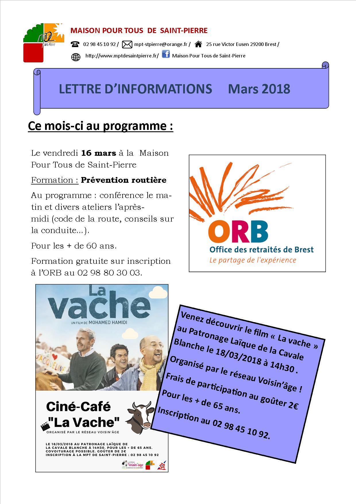 Lettre d'information du mois de mars