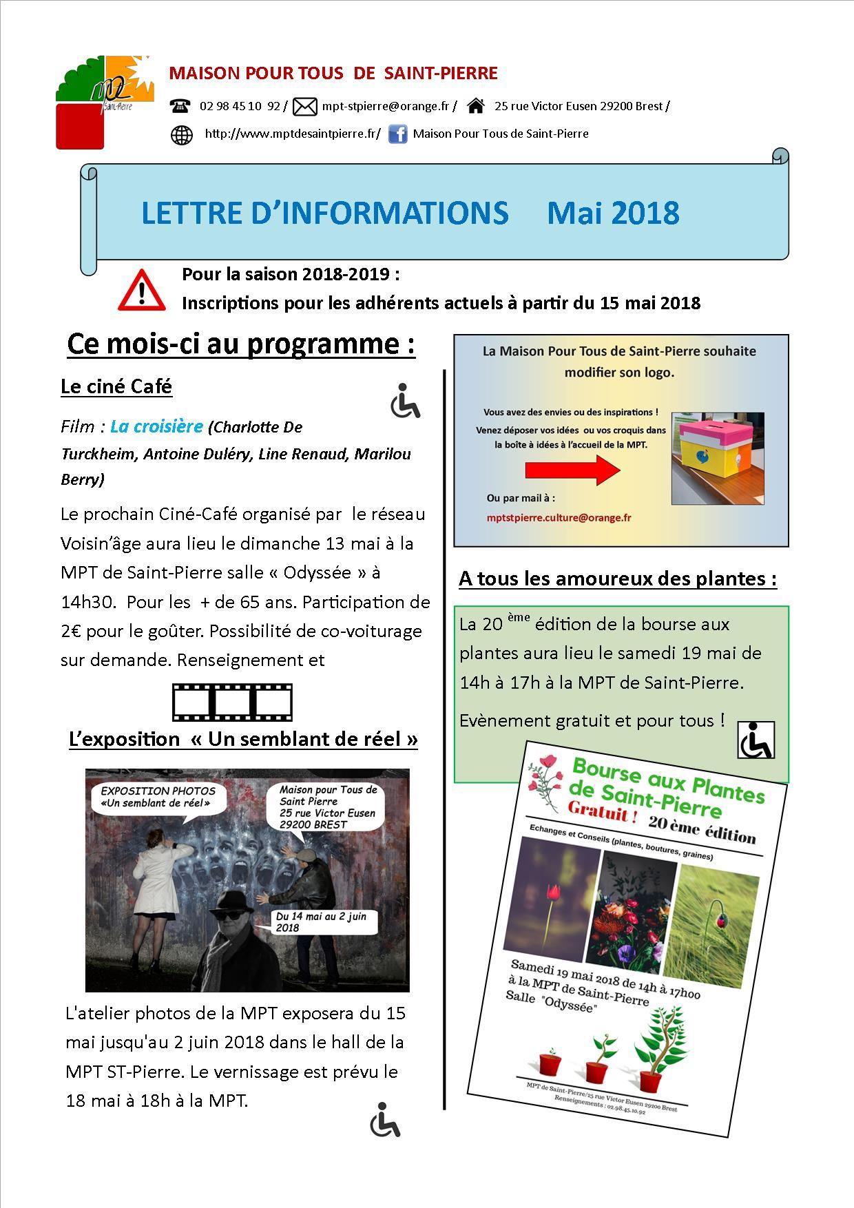 Lettre d'informations du mois de mai