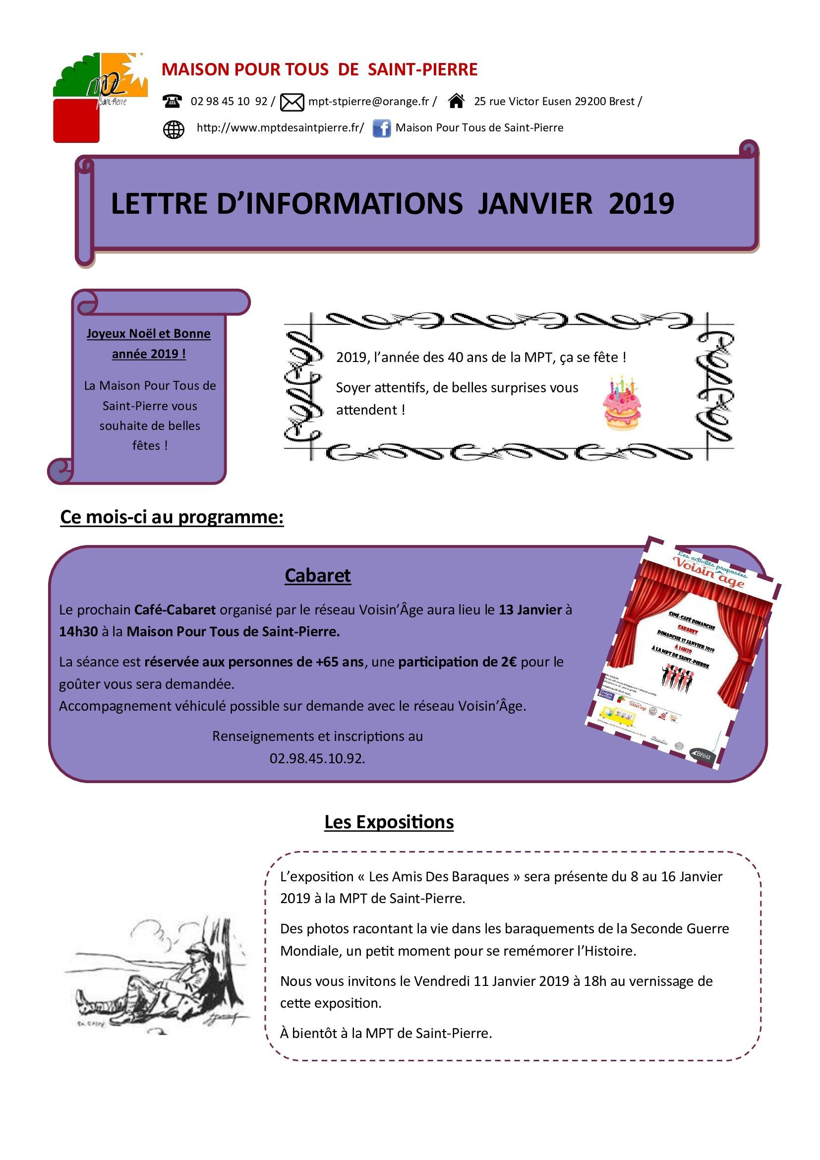lettre d'information Janvier 2019
